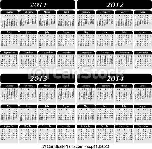 Four Year Calendar in Black - csp4162620