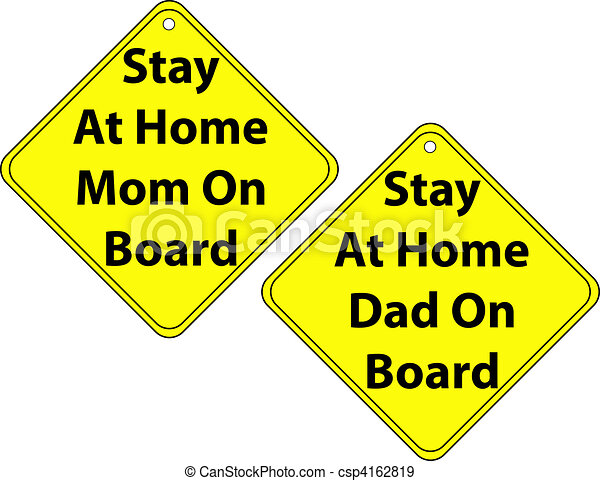 Set of Stay at Home Mom and Dad Signs - csp4162819
