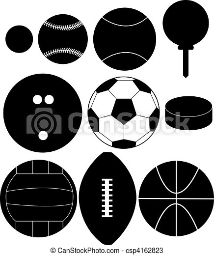 Set of Sports Ball Silhouettes - csp4162823