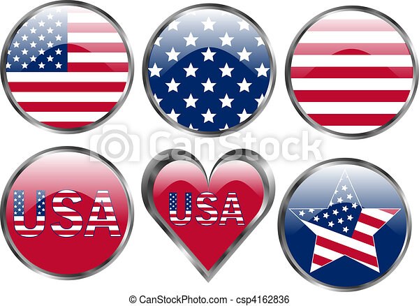 Set of American Flag Buttons - csp4162836