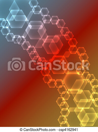 Abstract Glowing Hexagons Background - csp4162941
