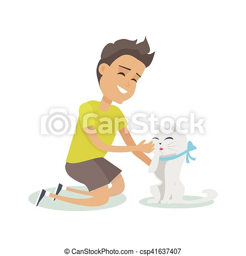 Playing with Pet Illustration in Flat Design. - csp41637407