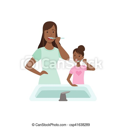 Vector of Mother And Child Brushing Teeth Together Illustration ...