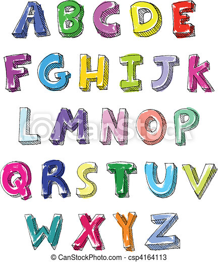 Colorful letters hand written - csp4164113