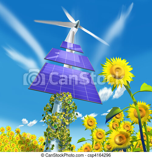 Panels energy and sunflowers - csp4164296