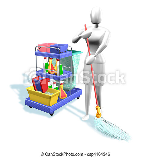 Woman cleaning - csp4164346