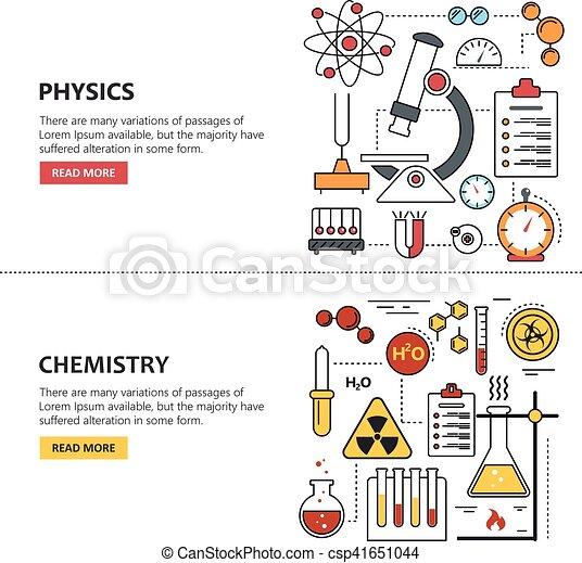 シンボル, 要素, 科学, icons., 旗, ベクトル, デザイン, 概念, 線 ...