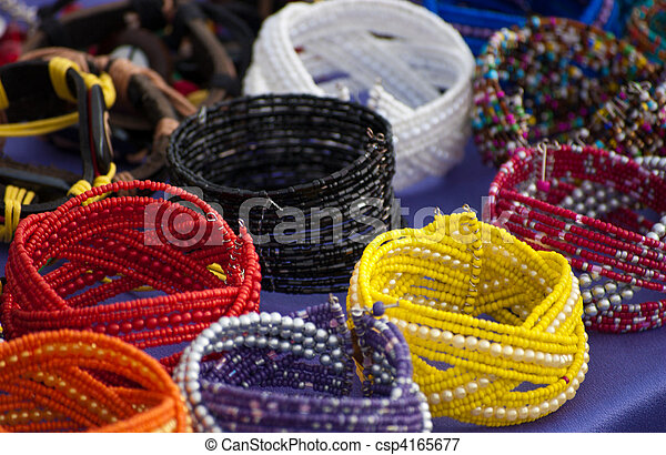 Colorfull bracelets at local market - csp4165677