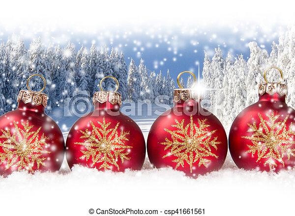 Photo of red Christmas ball group with falling snow and white space