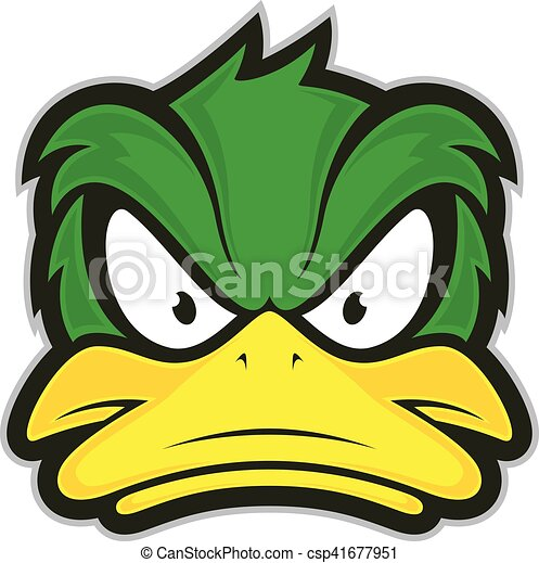Clipart Vector of Angry duck mascot - Clipart picture of a angry ...
