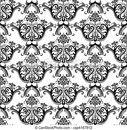 Seamless black & white wallpaper - csp4167912