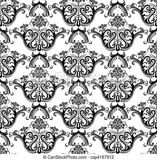 Seamless black & white wallpaper - csp4167912
