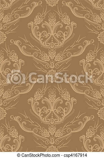 Luxury brown floral wallpaper - csp4167914