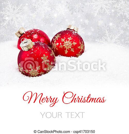 Three red christmas balls - csp41703150