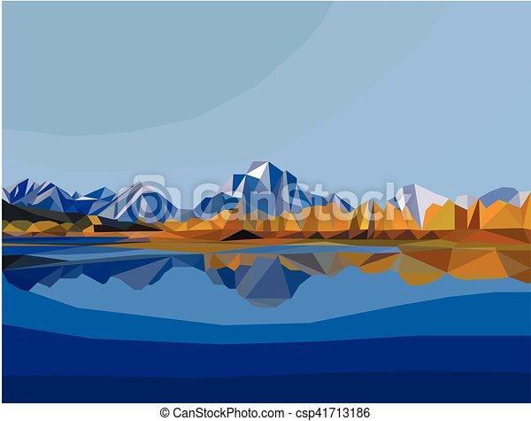 vecteur de paysage polygone montagne lac illustration paysage csp41713186 recherchez. Black Bedroom Furniture Sets. Home Design Ideas