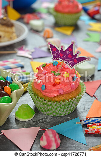 Birthday cake for the holiday on a gray background