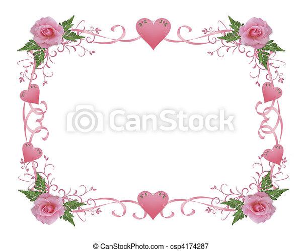Stock Illustrations Of Wedding Invitation Border Pink Rose