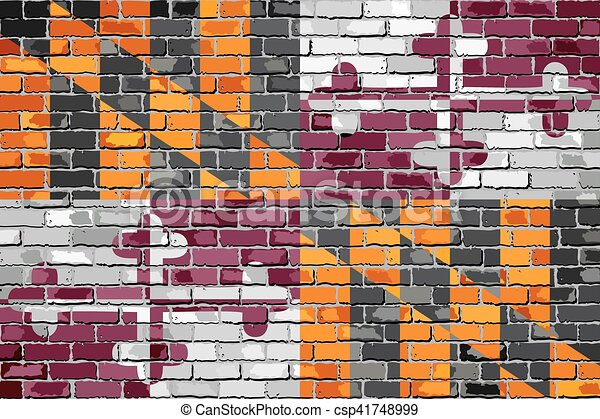 Maryland State Flag on a brick wall - csp41748999