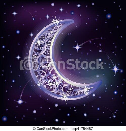 vecteur de ciel toil illustration lune vecteur nuit argent csp41754487 recherchez. Black Bedroom Furniture Sets. Home Design Ideas