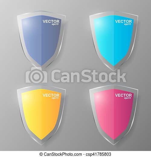 Set of glass shields. Vector illustration. - csp41785803
