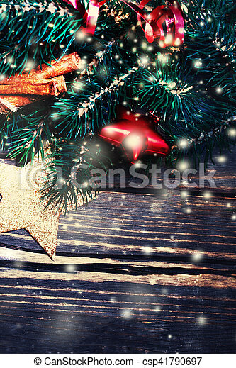 DArk Christmas background with festive decorations