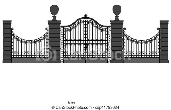 illustration of a wrought iron gate - csp41793624