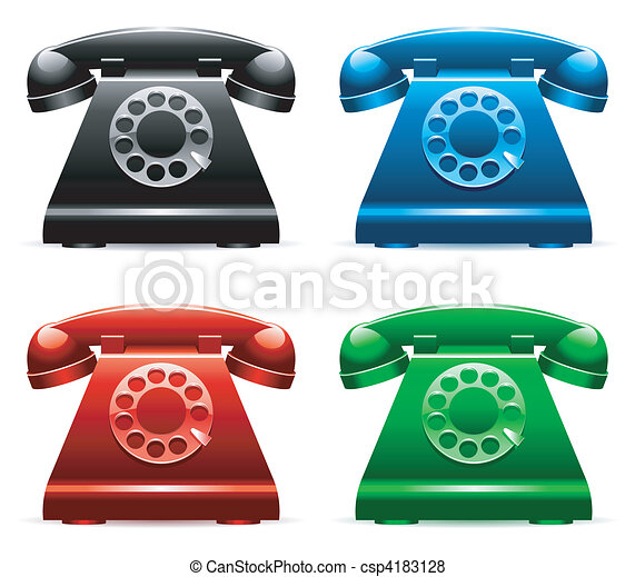 Retro telephones. - csp4183128