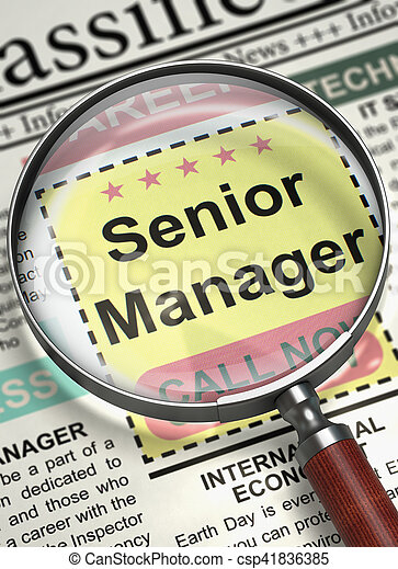 Illustration of Jobs of Senior Manager in Newspaper with Magnifier. Senior Manager - Small Ads of Job Search in Newspaper. Concept of Recruitment. Selective focus. 3D Render.