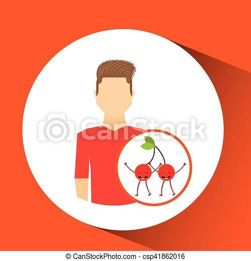 man with cartoon fruit cherrys - csp41862016