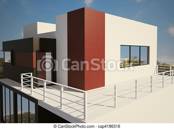Modern private house exterior 3d - csp4186316