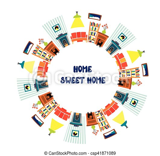 Home interior card with frame for the text - csp41871089