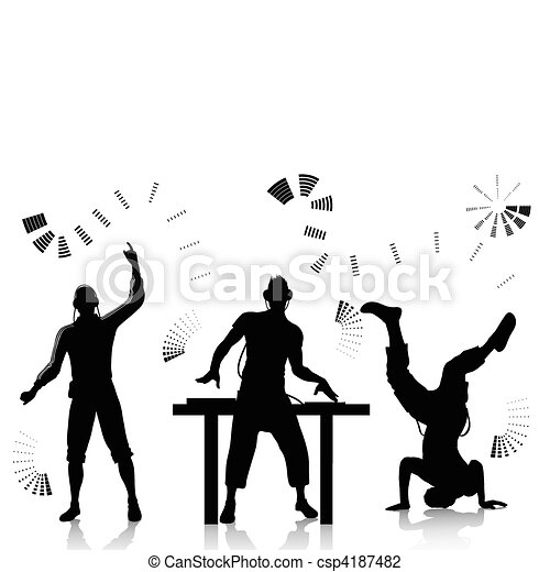 Dj and clubber silhouettes - csp4187482