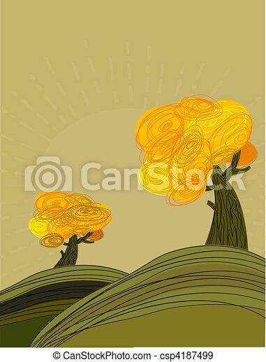 Autumn landscape with golden trees - csp4187499