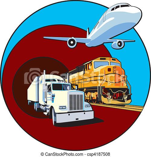 Vector de carga, transporte, II - Vectorial, redondo, viñeta, tema ...