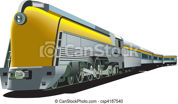 yellow old-fashioned train - csp4187540