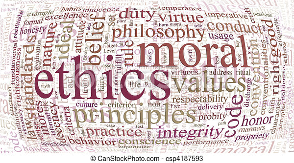 ethics and principles word cloud - csp4187593