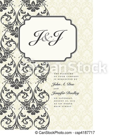 Vector Side Damask Frame with Initial Example - csp4187717