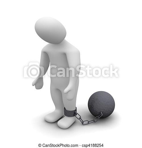 Punished criminal. 3d rendered illustration isolated on white. - csp4188254