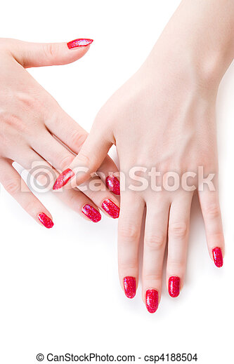 Beautiful woman hands with red nails - csp4188504
