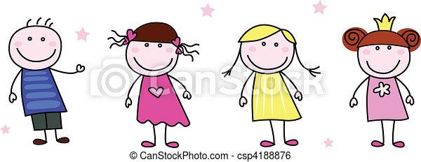 Stick Figures - Doodle Children - csp4188876