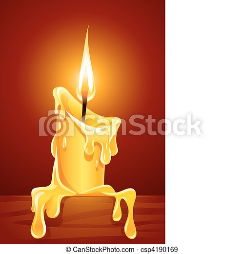 flame of burning candle with dripping wax - csp4190169