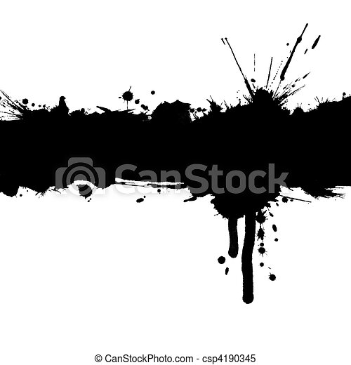 Grunge background with ink strip and blots with copy space - csp4190345