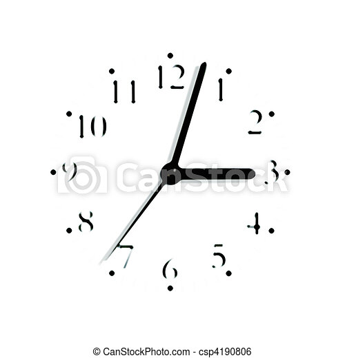 Abstract black and white analogue clock face dial reading 3:03 PM, isolated blurred macro silhouette - csp4190806