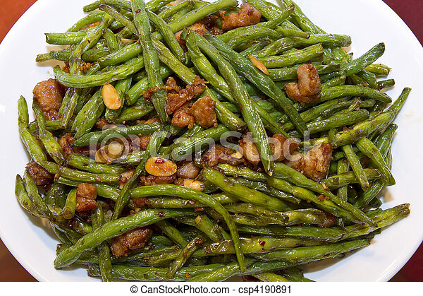 Chinese Food String Beans with Almond and Chicken - csp4190891