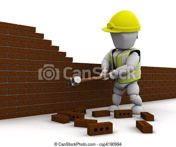 man demolishing a wall with a sledge hammer - csp4190994