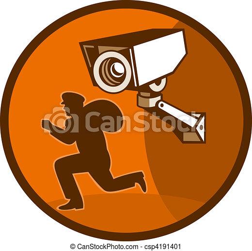 burglar thief running with Security surveillance camera - csp4191401