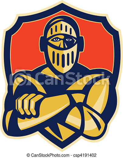 knight with arms crossed with shield in background - csp4191402