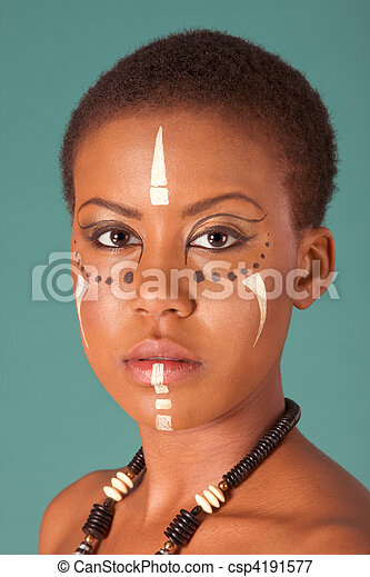 indigenous Afro American woman in tribal facepaint - csp4191577