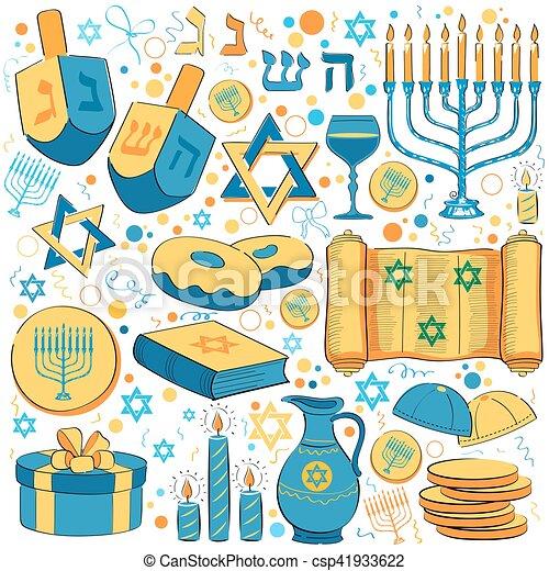 Happy Hanukkah, Jewish holiday background - csp41933622