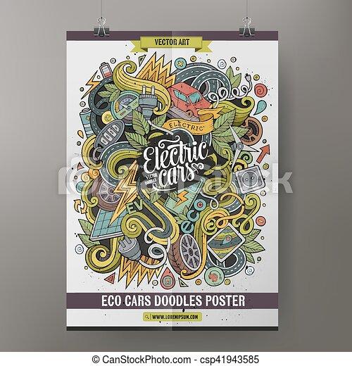 Vector Of Cartoon Doodles Electric Cars Poster Design Cartoon